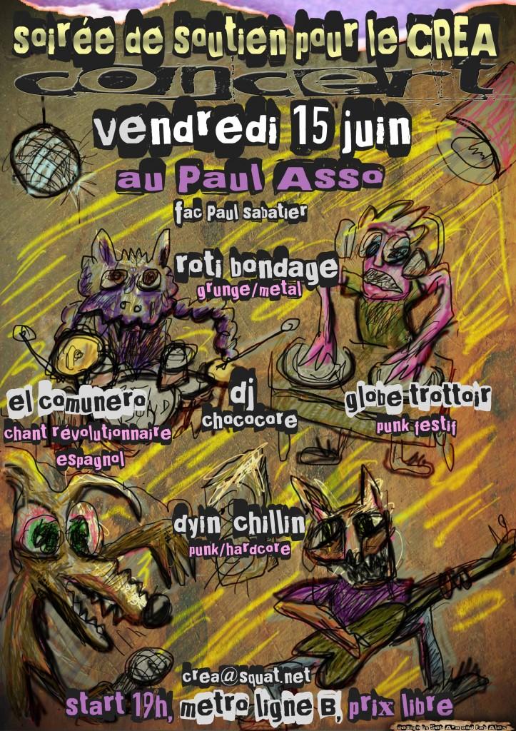 flyer concert soutien créa 15 juin by Seb et Fab